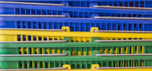 Stack of colorful shopping baskets